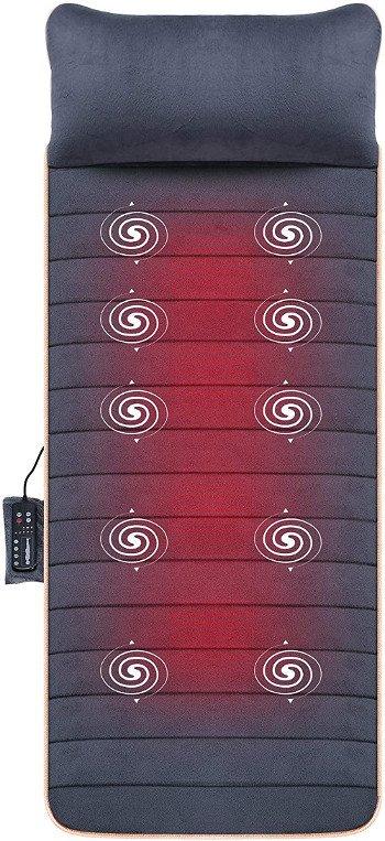 SNAILAX Colchón de masaje térmico con 10 motores vibrantes - 4 cojines de masaje terapéutico, masaje de cuerpo completo Dolores musculares relajantes SL363-ES